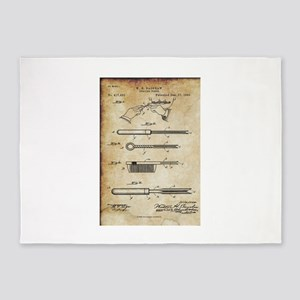 1889 Patent for Curling Tongs - Vin 5'x7'Area Rug