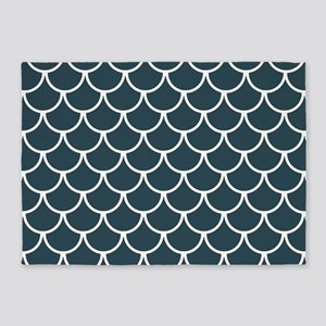 Blue Grey Fish Scales Pattern 5'x7'Area Rug