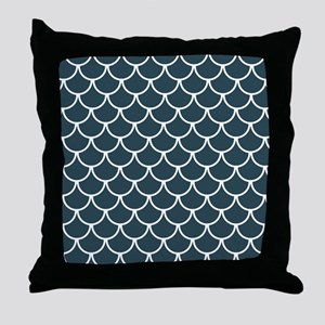Blue Grey Fish Scales Pattern Throw Pillow