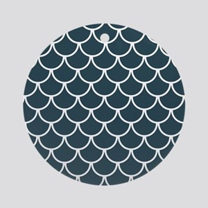 Blue Grey Fish Scales Pattern Round Ornament