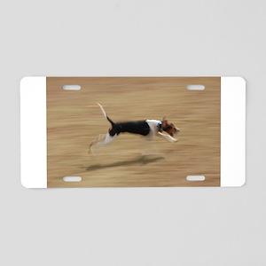 treeing walker coonhound running Aluminum License