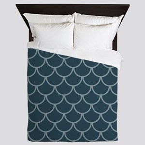 Blue & Dark Blue Fish Scales Pattern Queen Duvet