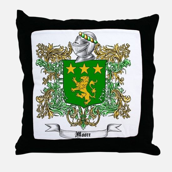 Moore Family Crest 1 Throw Pillow