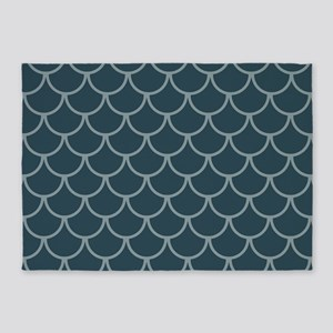 Blue & Dark Blue Fish Scales Patter 5'x7'Area Rug