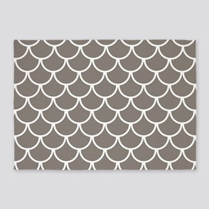 Neutral Brown Fish Scales Pattern 5'x7'Area Rug