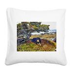 dogkisser_black Square Canvas Pillow