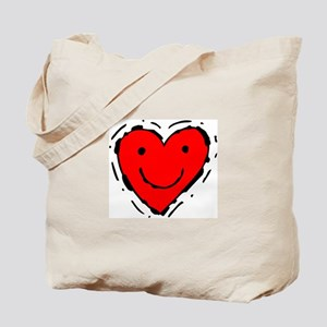 Happy Face Heart Tote Bag