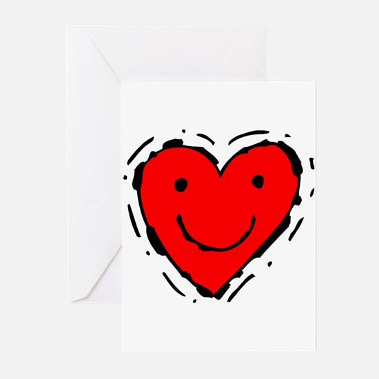 Happy Face Heart Greeting Cards (Pk of 10)