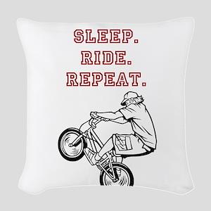 Eat, Sleep, Ride, Repeat Woven Throw Pillow
