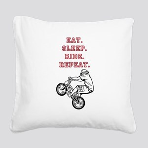 Eat, Sleep, Ride, Repeat Square Canvas Pillow