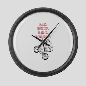 Eat, Sleep, Ride, Repeat Large Wall Clock