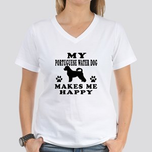 My Portuguese Water Dog makes me happy Women's V-N