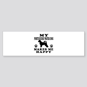 My Portuguese Water Dog makes me happy Sticker (Bu