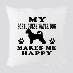 My Portuguese Water Dog makes me happy Woven Throw