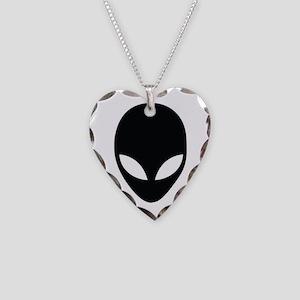 Alien silhouette Necklace Heart Charm