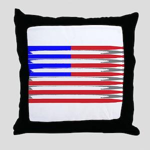 Patriotic USA Drumstick Flag Drum Throw Pillow