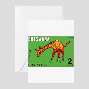 1970 Botswana Giraffe Christmas Postage Stamp Gree