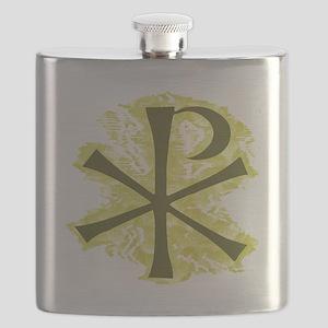 Yellow Glow Chi Ro Cross Flask