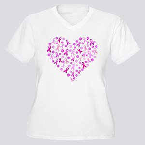 Breast Cancer Pink Ribbon Women's Plus Size V-Neck