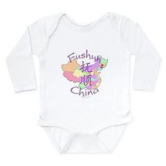 Fushun China Map Long Sleeve Infant Bodysuit