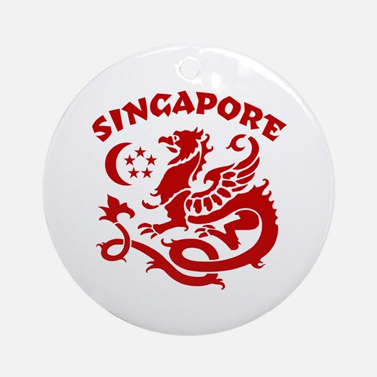 Singapore Dragon Ornament (Round)