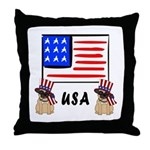 Patriotic USA Pug Dogs Throw Pillow