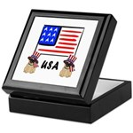 Patriotic USA Pug Dogs Keepsake Box