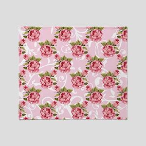 Pink Rose Garden Throw Blanket