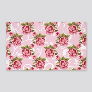 Pink Rose Garden 3'x5' Area Rug
