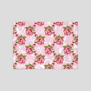Pink Rose Garden 5'x7'Area Rug
