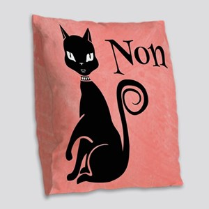 Black Kitty in Pink Non Burlap Throw Pillow