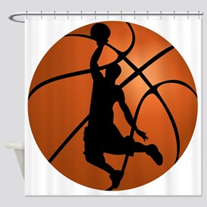 Basketball Dunk Silhouette Shower Curtain