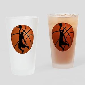 Basketball Dunk Silhouette Drinking Glass