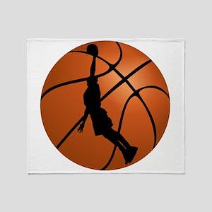 Basketball Dunk Silhouette Throw Blanket