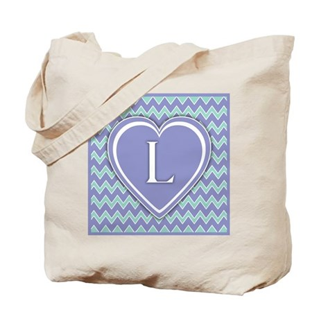 Letter L Pale Violet and Green Chevron Totebag