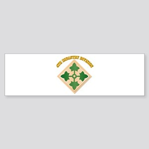 SSI - 4th Infantry Division with text Sticker (Bum