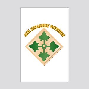 SSI - 4th Infantry Division with text Mini Poster