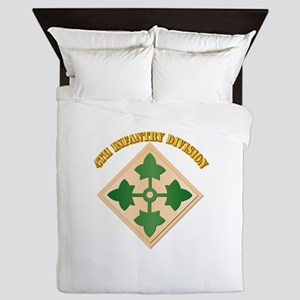 SSI - 4th Infantry Division with text Queen Duvet