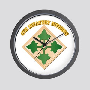 SSI - 4th Infantry Division with text Wall Clock