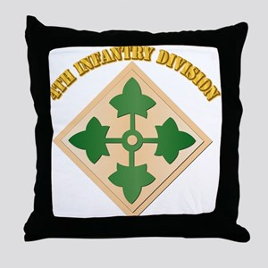 SSI - 4th Infantry Division with text Throw Pillow
