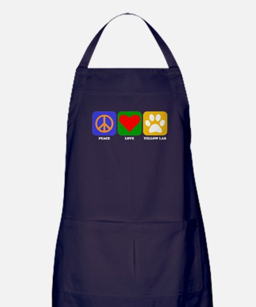 Peace Love Yellow Lab Apron (dark)
