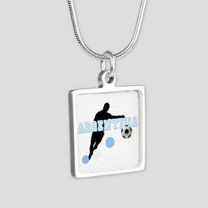 Argentina Soccer Player Silver Square Necklace