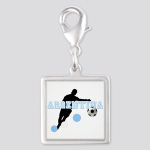 Argentina Soccer Player Silver Square Charm