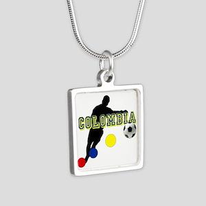 Colombia Futbol Player Silver Square Necklace