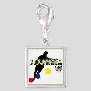 Colombia Futbol Player Silver Square Charm