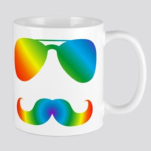 Pride sunglasses Rainbow mustache Mugs