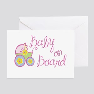 (Pink) Baby on Board Greeting Cards (Pk of 10)