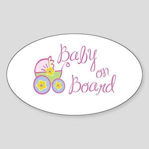 (Pink) Baby on Board Oval Sticker