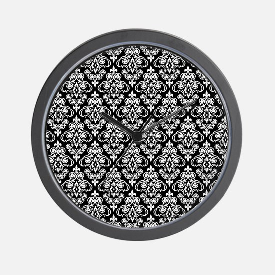 White & Black Damask #36 Wall Clock