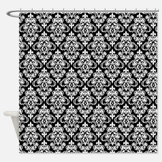 White & Black Damask #36 Shower Curtain